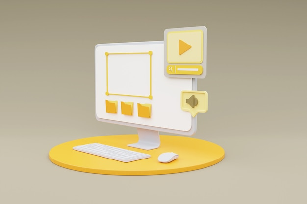 3d-rendering des computers, der medieninhaltsverwaltungskonzept auf grauem hintergrund zeigt.