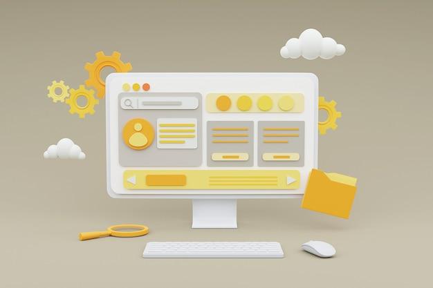 3d-rendering des computers, der websites des personalinformationssystems zeigt.