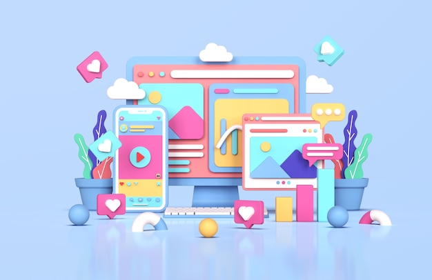 3d-rendering des digitalen marketingkonzepts der sozialen medien instagram