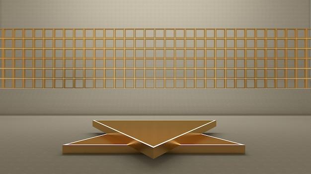 3d-rendering des dreieckspodiums für das showprodukt