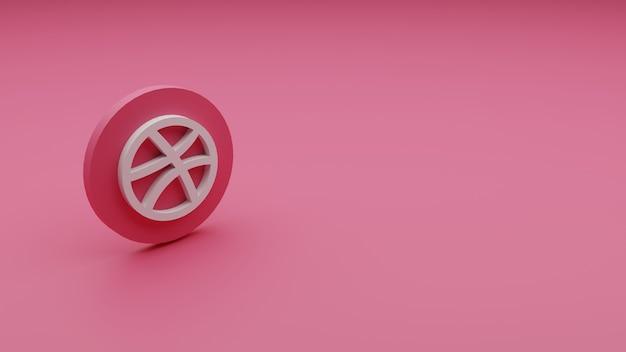 3d-rendering des dribble-logos mit kopierraum