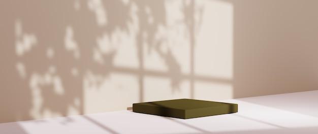3d-rendering des dunkelgrünen quadratischen podiums für die anzeige von produkten im hintergrund mit fensterschattenhintergrund. mockup für showprodukt.