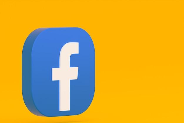 3d-rendering des facebook-anwendungslogos auf gelbem hintergrund