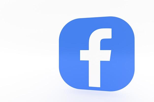 3d-rendering des facebook-anwendungslogos auf weißem hintergrund