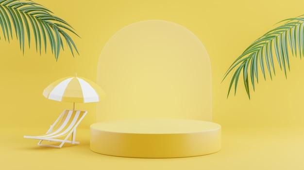 3d-rendering des gelben podiums mit sommer für produktanzeige