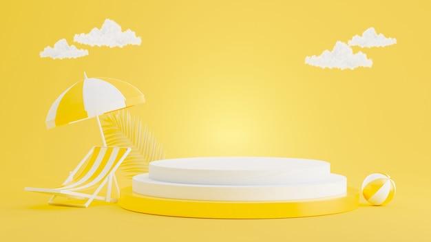3d-rendering des gelben podiums mit sommerkonzept für produktanzeige