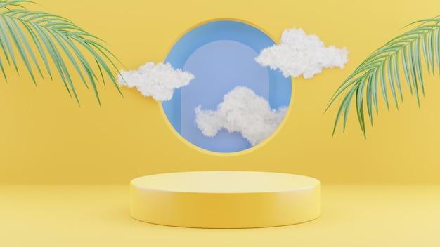 3d-rendering des gelben podiums mit wolke für produktanzeige