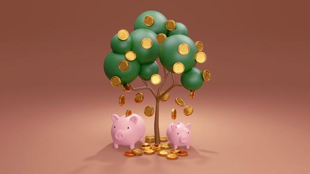 3d-rendering des geldbaums mit herunterfallenden münzen und rosa schweinchen unter dem baum im sparkonzept