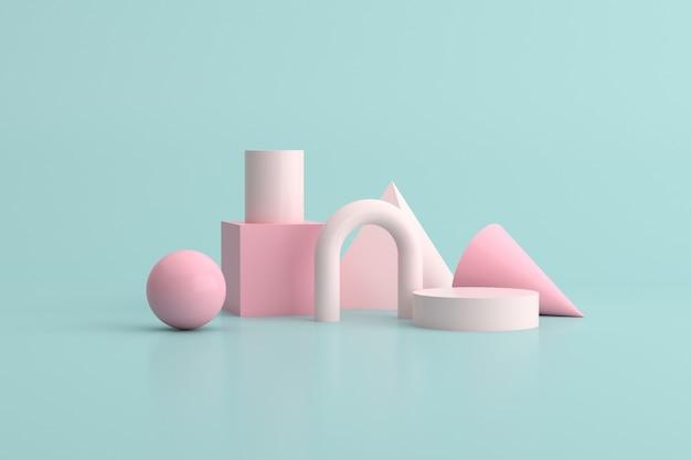 3d-rendering des geometrieobjekts auf grünem hintergrund, minimales konzept.