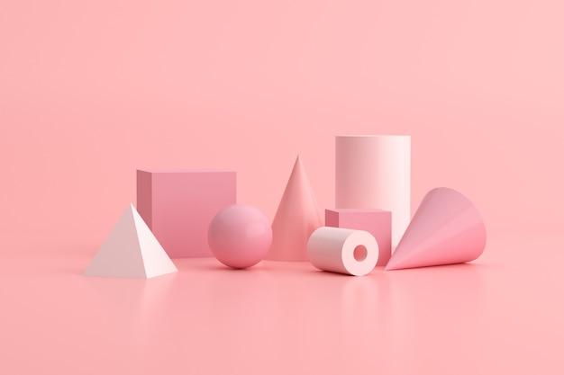 3d-rendering des geometrieobjekts auf rosa hintergrund, minimales konzept.