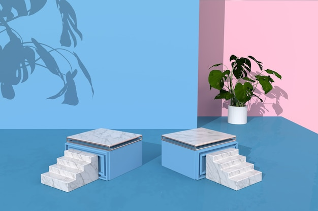 3d-rendering des geometrischen bühnenhintergrunds mit würfelpodest für produktanzeige