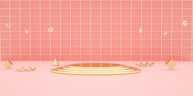 3d-rendering des geometrischen formhintergrunds mit goldpodest für produktanzeige