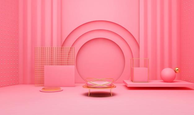 3d-rendering des geometrischen plattformhintergrunds mit einfachem podium für produktanzeige