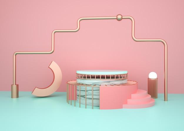 3d-rendering des geometrischen plattformhintergrunds mit marmorpodest für modellanzeige