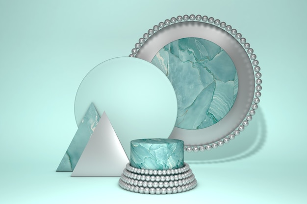 3d-rendering des geometrischen sockels des grünen marmors für produktpräsentation
