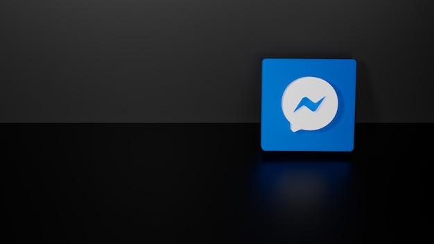 3d-rendering des glänzenden facebook messenger-logos auf schwarzem dunklem hintergrund