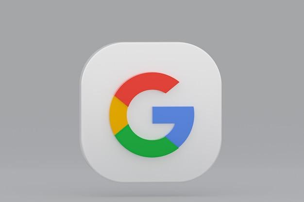 3d-rendering des google-anwendungslogos auf grauem hintergrund