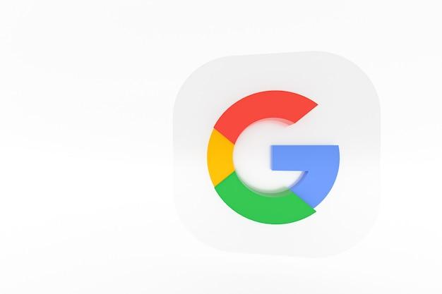 3d-rendering des google-anwendungslogos auf weißem hintergrund