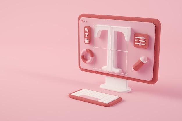 3d-rendering des grafikdesignkonzepts