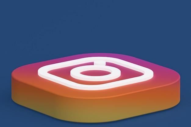 3d-rendering des instagram-anwendungslogos auf blauem hintergrund