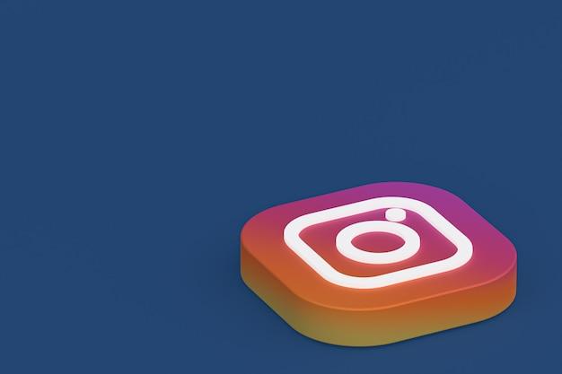 3d-rendering des instagram-anwendungslogos auf blauem hintergrund Premium Fotos