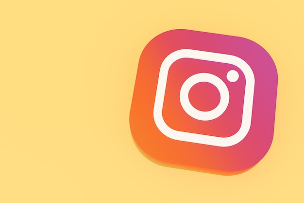 3d-rendering des instagram-anwendungslogos auf gelbem hintergrund