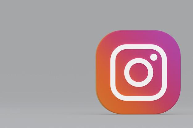 3d-rendering des instagram-anwendungslogos auf grauem hintergrund
