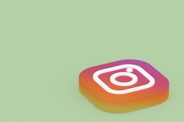 3d-rendering des instagram-anwendungslogos auf grünem hintergrund