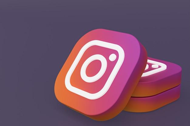 3d-rendering des instagram-anwendungslogos auf lila hintergrund