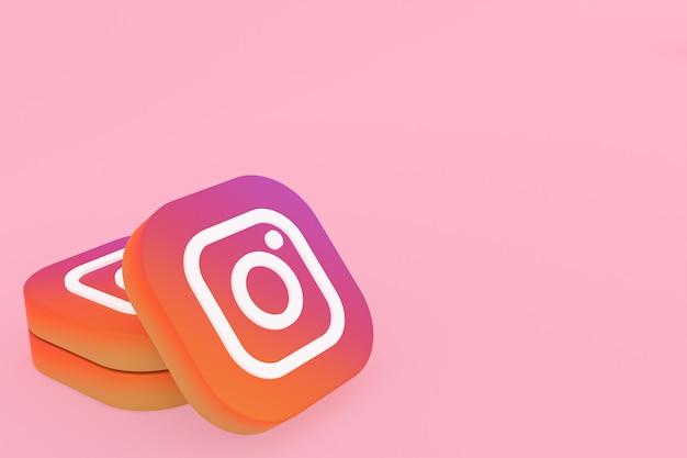 3d-rendering des instagram-anwendungslogos auf rosa hintergrund