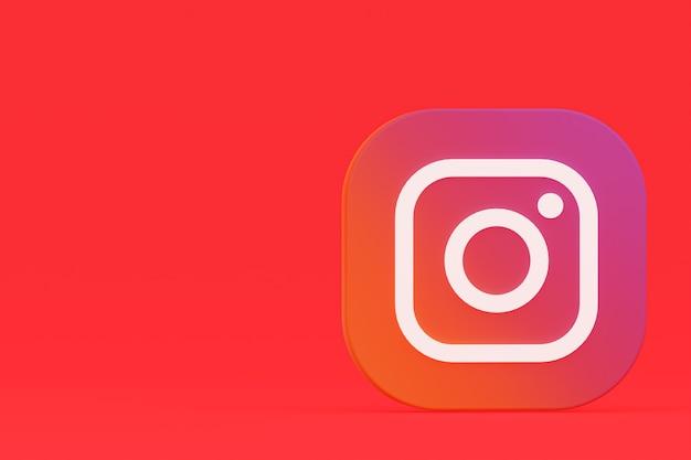 3d-rendering des instagram-anwendungslogos auf rotem hintergrund
