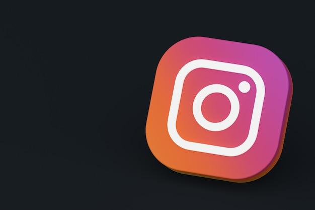 3d-rendering des instagram-anwendungslogos auf schwarzem hintergrund