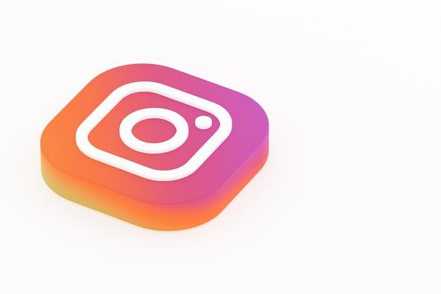 3d-rendering des instagram-anwendungslogos auf weißem hintergrund