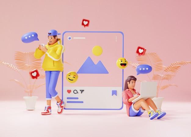 3d-rendering des jungen paares, das zu den sozialen medien süchtig ist