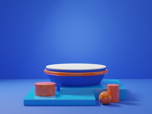 3d-rendering des klassischen blauen podestpodestes auf klarem hintergrund, abstrakter minimaler podium-leerraum für schönheitskosmetikprodukt