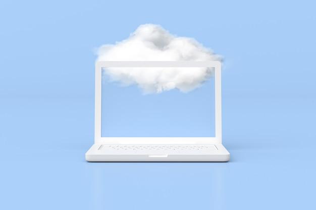 3d-rendering des laptops mit weißer wolke, cloud-computing-konzept.
