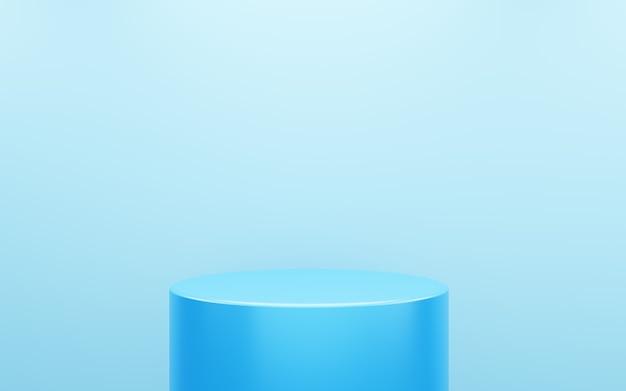 3d-rendering des leeren blauen podiums abstrakten minimalen hintergrund. szene für werbedesign, kosmetikanzeigen, show, technologie, essen, banner, creme, mode, kind, luxus. illustration. warenpräsentation