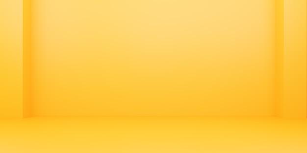 3d-rendering des leeren gelb-orange abstrakten minimalen hintergrunds. szene für werbedesign, kosmetikanzeigen, show, technologie, essen, banner, creme, mode, kind, luxus. illustration. warenpräsentation