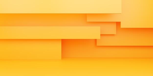 3d-rendering des leeren gelb-orange abstrakten minimalen hintergrunds