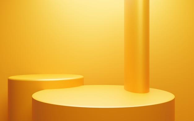 3d-rendering des leeren gelb-orangefarbenen podiums abstrakte minimale hintergrundszene für werbedesign
