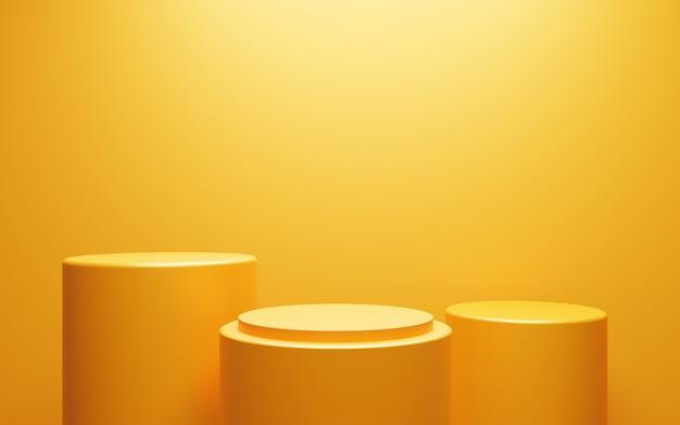3d-rendering des leeren gelb-orangefarbenen podiums abstrakten minimalen hintergrund