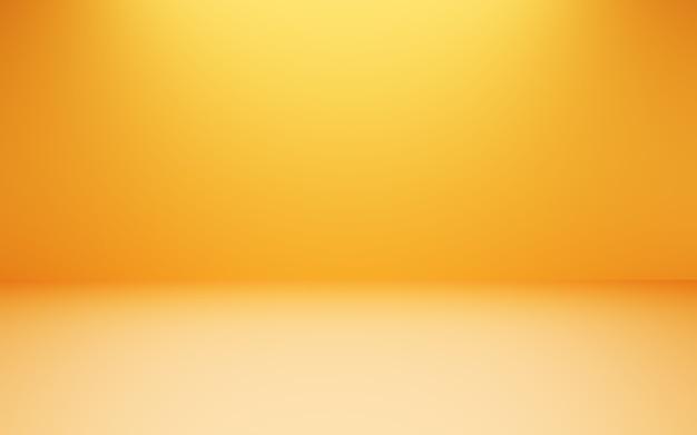 3d-rendering des leeren orange-gelben abstrakten minimalen konzepthintergrundes