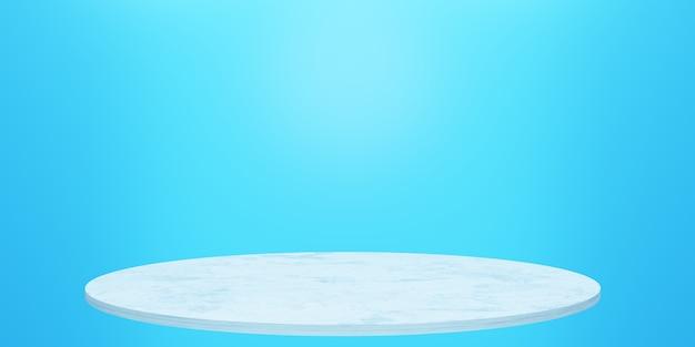 3d-rendering des leeren podiums mit minimalem blauem hintergrund szene für werbedesign-kosmetikanzeigen