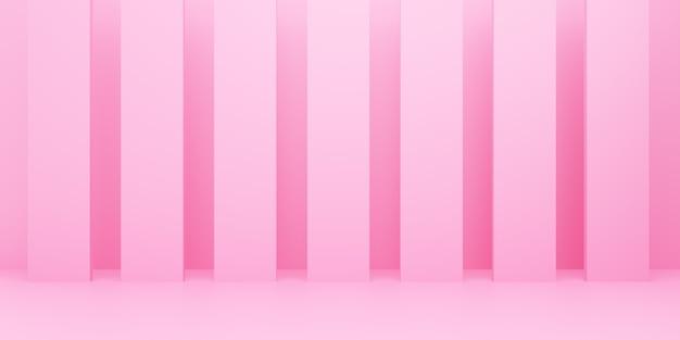 3d-rendering des leeren rosa abstrakten minimalen hintergrunds. szene für werbedesign, kosmetikanzeigen, show, technologie, essen, banner, creme, mode, kind, luxus. illustration. warenpräsentation