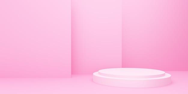 3d-rendering des leeren rosa podiums abstrakten minimalen hintergrund. szene für werbedesign, kosmetikanzeigen, show, technologie, essen, banner, creme, mode, kind, luxus. illustration. warenpräsentation