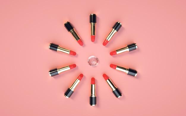 3d-rendering des lippenstiftprodukts, das diamanten auf einem rosa für modellanzeige kreist