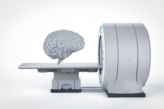 3d-rendering des menschlichen gehirns mit mrt-scan-maschine
