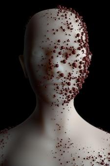 3d-rendering des menschlichen kopfes und der oberseite des körpers mit geklonten reflektierenden kugeln, die eine infektion von schäden symbolisieren.
