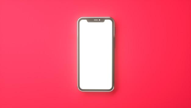 3d-rendering des mobiltelefons mit leerem bildschirm