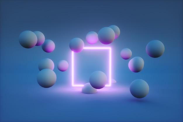 3d-rendering des neonrahmens mit kugeln um ihn herum.